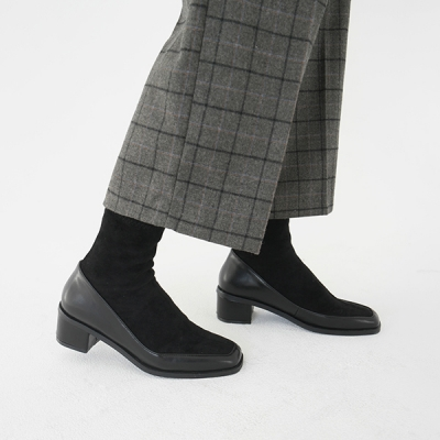 Suede combine ankle boots