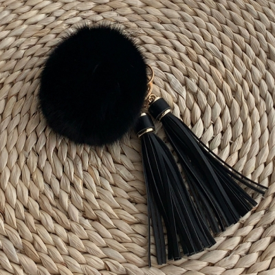 FOX FUR KEYRING - Black Tassel