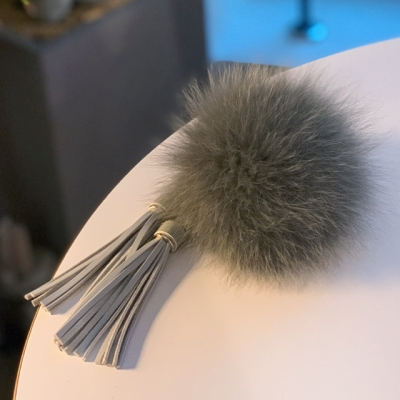 FOX FUR KEYRING - Gray Tassel
