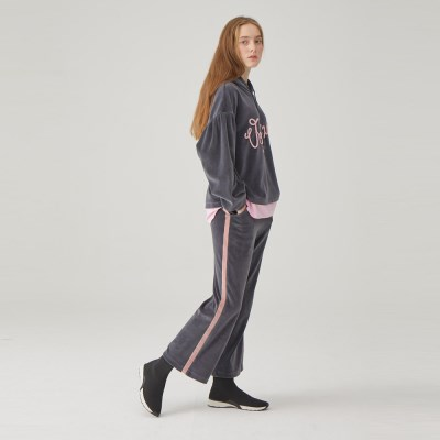 VOYAGE VELBOA TRACK PANTS (GREY)