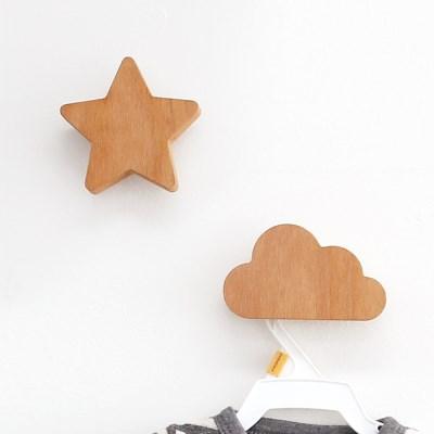 [위크앤드] 원목 별 구름 후크