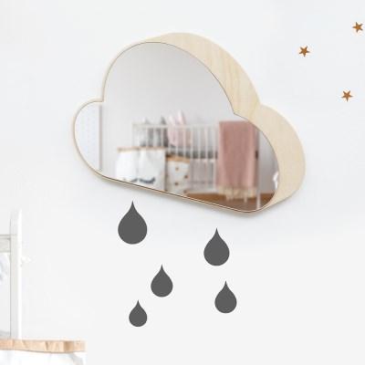 [위크앤드] 원목 아크릴 안전 거울-구름구름