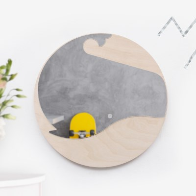 [위크앤드] 원목 아크릴 안전 거울-고래고래
