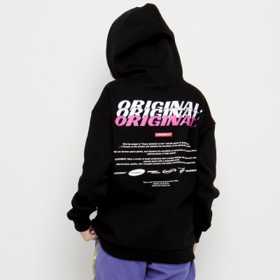 Graphic Print Napping Hoodie_Black