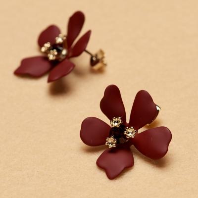 컬러스톤 꽃 귀걸이