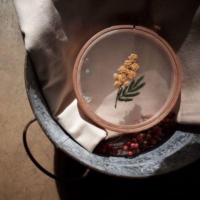 프랑스자수 투명자수액자 DIY 키트 - 은엽 아카시아 Mimosa