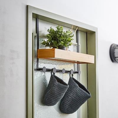 노바리빙 철제 다용도 문걸이/벽걸이 대나무 수납 선반