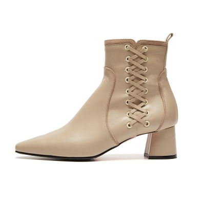 Lace up Ankle Boots(ivory)