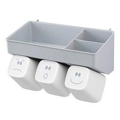 스마일 칫솔꽂이 양치컵3구 수납홀더세트