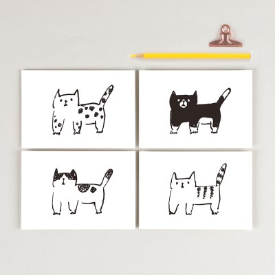 와글와글 고양이엽서 4매세트