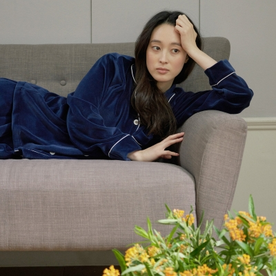 [w] Navy Velour Pajama Set