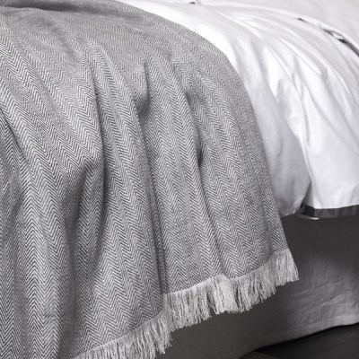Linen Herringbone Blanket_gray