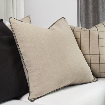 Black Herringbone Piping Linen Cushion
