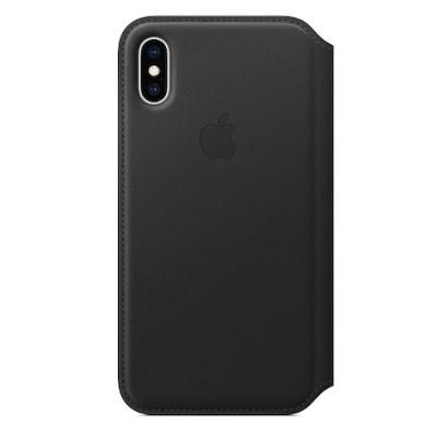 iPhone XS 가죽 폴리오 케이스 - 블랙 [MRWW2FE/A]