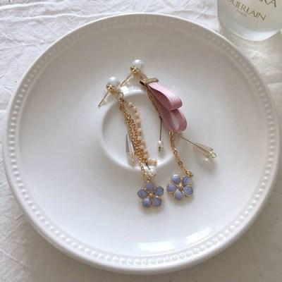 제비꽃 원석 드롭 귀걸이