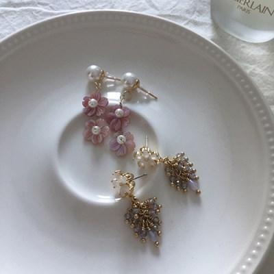 천연자개 벚꽃 두송이 귀걸이