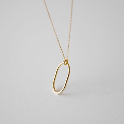 [925실버] 골드 페미닌 빅 링 목걸이 gold feminine big ring