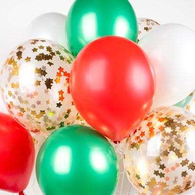 헬륨풍선효과 컨페티벌룬 메리크리스마스 은박 스타골드_(11626287)