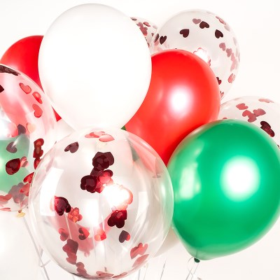 헬륨풍선효과 컨페티벌룬 메리크리스마스 은박 하트레드_(11626286)
