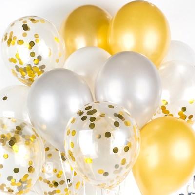 헬륨풍선효과 컨페티벌룬 은박 도트골드 [30개묶음]_(11626277)