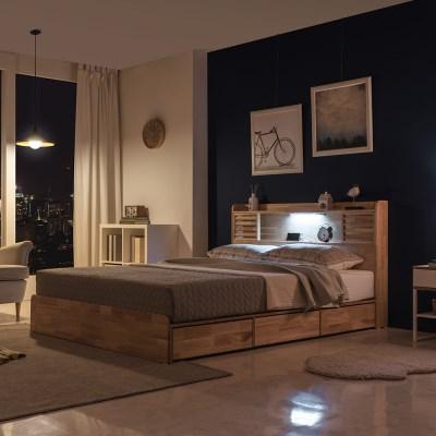 잉글랜더 New 로웰 슬라이딩 LED 원목 수납 침대(DH 텐_(12050425)