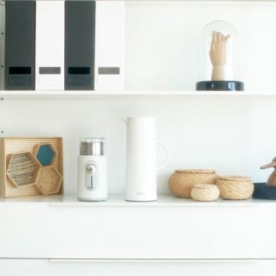 델키 전동커피그라인더 화이트+진공보온보냉주전자 세트