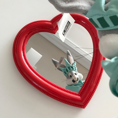 Bubble Heart Mirror - Red