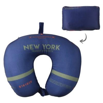 [Travel Mate] 뉴욕시티 트랜싯 2-IN-1 비즈 목베개 - 네이비