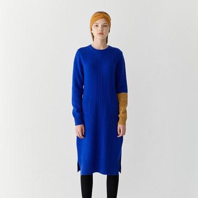 [티스오피스] 램스울 블루 니트 드레스