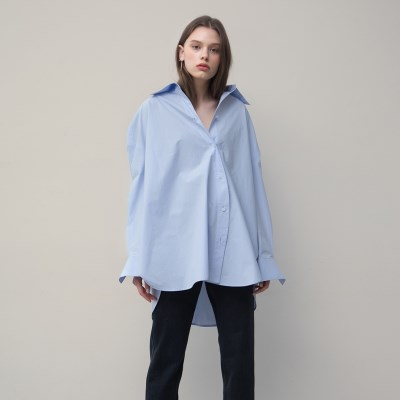 [티스오피스] 하늘색 비대칭 셔츠