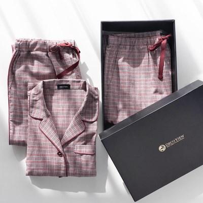 [선물세트] 핑크체크 커플 파자마 세트