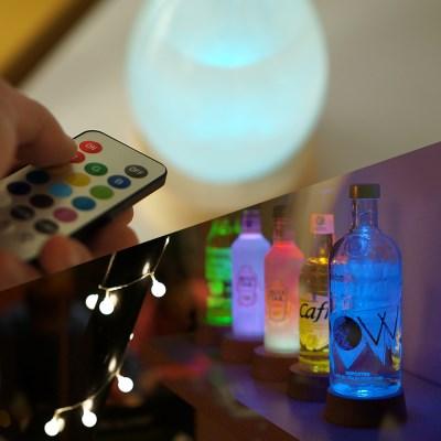 감성캠핑조명 원목받침 LED 코스터라이트