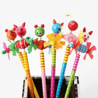 빙글빙글프로펠라 귀여운동물나라 원목 연필10P