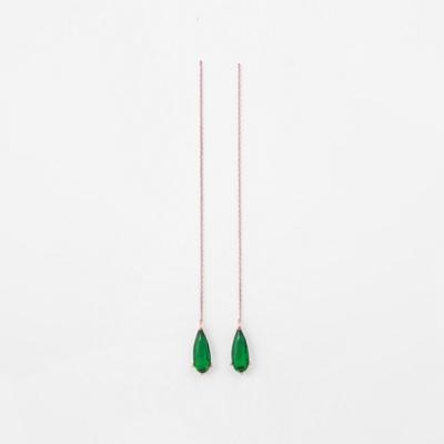 [쥬디앤폴] 엘리사 물방울 컷팅 에메랄드 롱 귀걸이 E50325