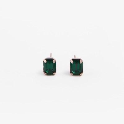 [쥬디앤폴] 제니아 에메랄드 그린 크리스탈 스터드 귀걸이 E50635