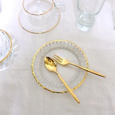 골드라인 크리스탈 접시 디저트접시