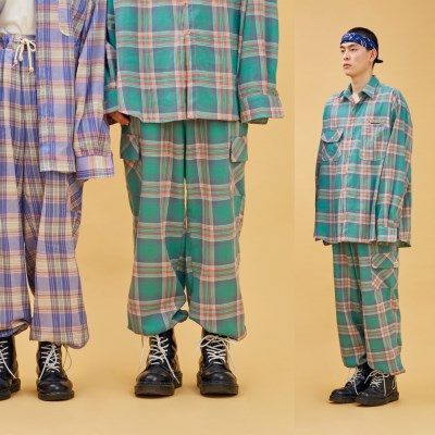 NEONDUST. 19SP CHECK PANTS Green