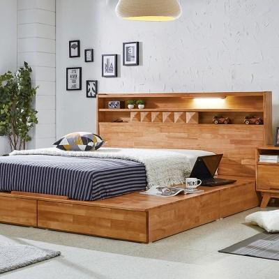 웨어하우스 소나타 원목평상형 침대 (사각고정타입) - 퀸