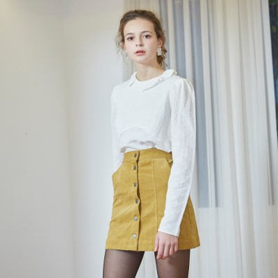 [벰버] CORDUROY MINI SKIRT_MUSTARD