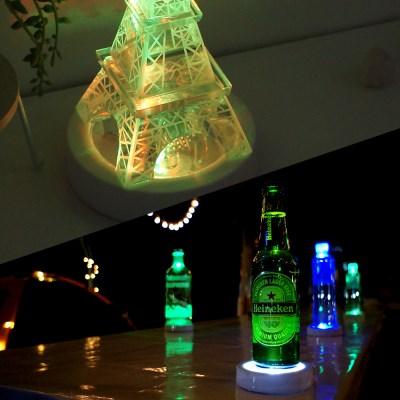 누름식 LED 받침조명 (백색케이스/컬러혼합)