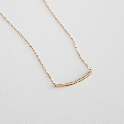 [925실버]골드 커브 바 목걸이 gold curved bar necklace