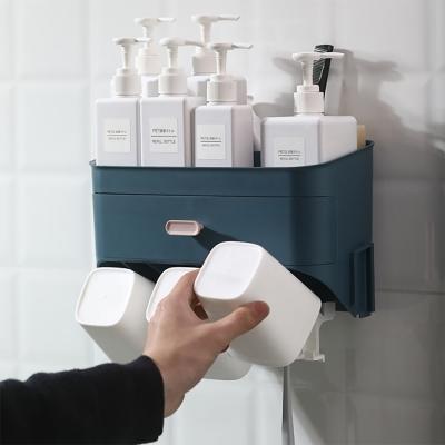 서랍형 욕실선반 (양치컵 3p 포함)