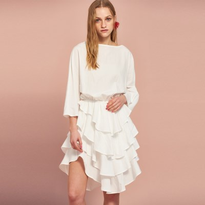 Can Can Cotton Dress in Ivory