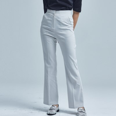SIMPLE BOOTCUT SLACKS_SS IVORY