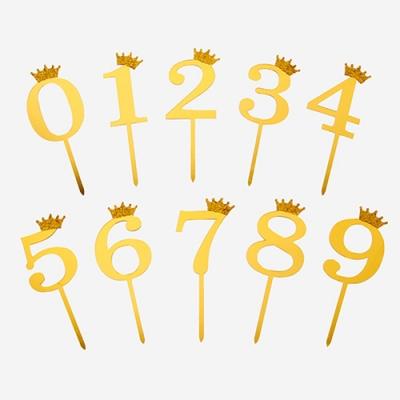 반짝이는 골드 크라운 숫자 아크릴 데코픽 대 (1개)