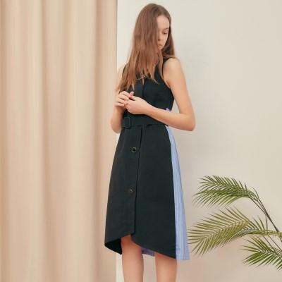 [블랭크] PLEATS BUTTON DRESS-BK