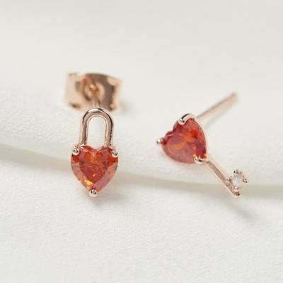 오렌지 큐빅 열쇠 자물쇠 귀걸이