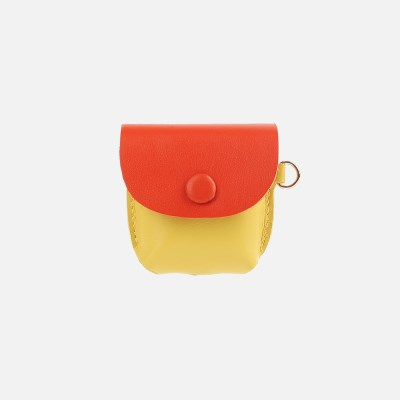 Button Shoulder AirPods Leather Case YellowOrange