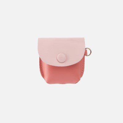 Button Shoulder AirPods Leather Case MellowRoseLightpink