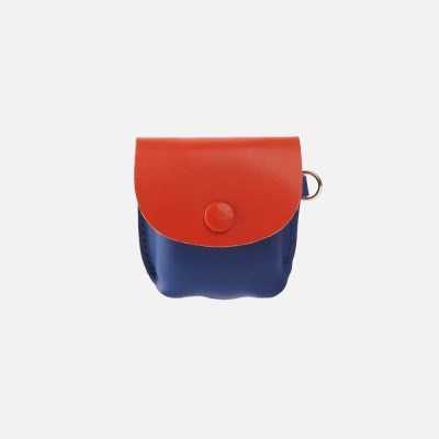 Button Shoulder AirPods Leather Case BlueOrange